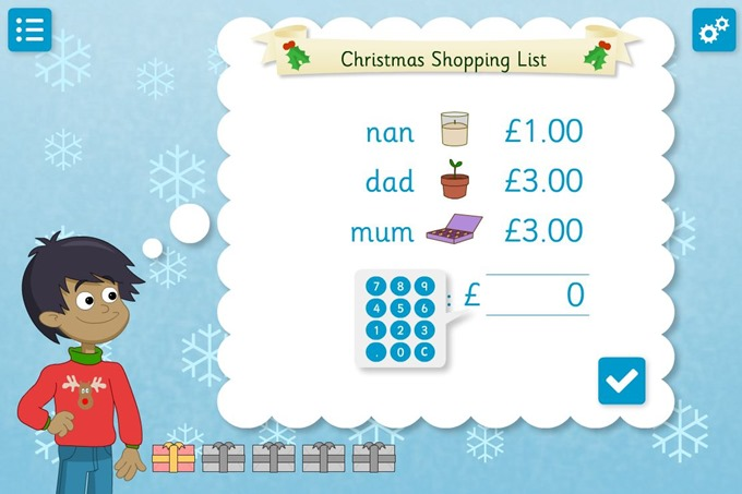 Christmas Shopping maths game